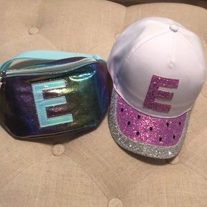 """Justice """"E"""" fanny pack and """"E"""" watermelon hat"""